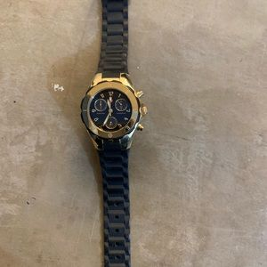 Michele black and gold jelly watch